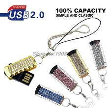 Wholesale Full Capacity 4GB 8GB 16GB 32GB Bling Shing Rhinestone Diamond Simple Model 2.0 Memory Stick USB Flash Pen Drive(China)