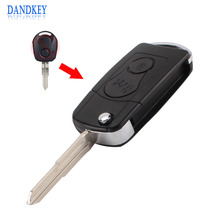 Dandkey Replacement For Ssangyong 2 Button Flip Remote Key Case SHELL For Actyon SUV Kyron With Logo