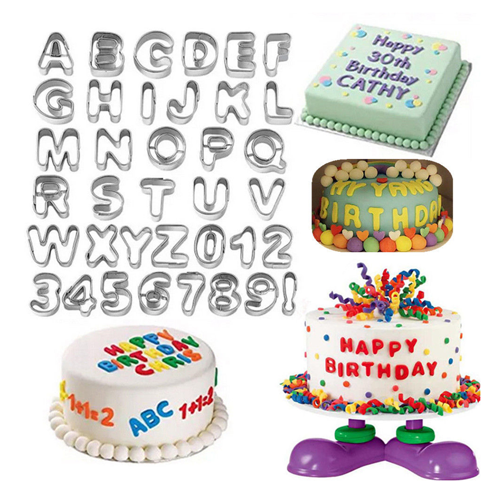 37pcs Stainless Steel Alphabet Leers Numbers Cake Mold Cookie Biscuit Fruit Cuer Baking Set