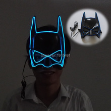 High-quality Child Favors Batman Sparkling EL wire Mask Cosplay Holiday Lighting LED Neon Mask for Children's Day,New Year Gift(China)
