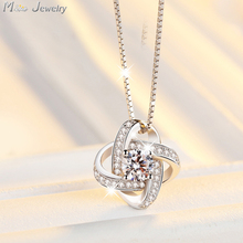 Drop Shipping 925 Sterling Silver Chain Necklaces Crystal Pendants&Necklaces Jewelry Collar Colar de Plata