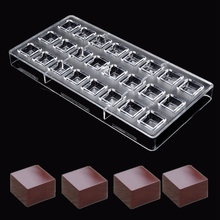 Clear 24 Square Shaped Plastic Polycarbonate PC Chocolate Moulds Sweet Candy DIY Mold Handmade Chocolate Tools(China)