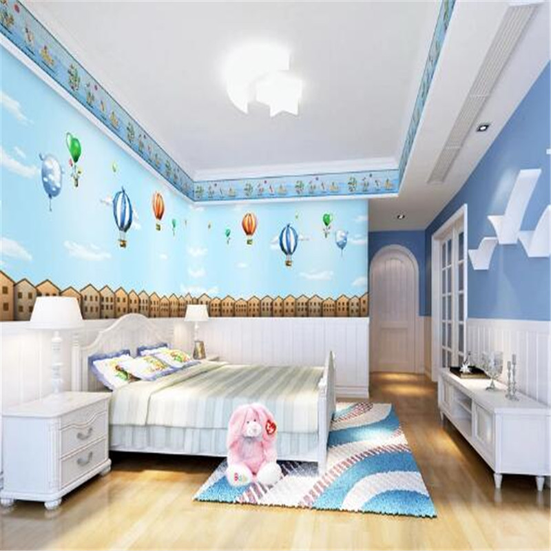 Cartoon Wallpapers Blue Mural Wallpaper for Kids Room Custom Wall Papers Home Decor Balloon Boy Photo Wallpapers for Living Room<br>