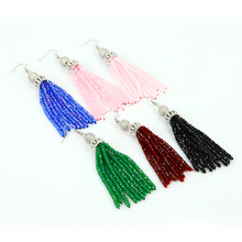 The New Style Statement Charm Mix Color Beaded Tassel Earring Bohemia Women Tassel Earring For Fashion Jewelry Accessories(China)