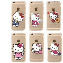 Transparent Cartoon Silicone Cute Hello Kitty Phone Case For iPhone5 5S SE 6 6S Plus soft Ultra slim silica gel Tpu Phone Cover