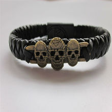 Free shipping High Quality handmade woven Cable Men's Bracelet Black skull Leather micro usb Sync Data charging Cable bracelet(China)
