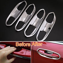 BBQ@FUKA 8pcs Car styling For Ford Edge 2015 Chrome car accessories Outer Door Handle Bowls Cover Decoration Trim Car deals(China)