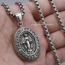 Virgin Mary JESUS Cross 925 Sterling Silver Pendant 8A004(Necklace 24inch)