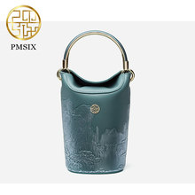 Pmsix Mini Fashion Women Bag Shoulder Bags Original Designer Leather Landscape Embossed Handbag P120148 Green/Brown(China)