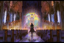 wall art canvas fabric poster (frame available) fantasy man in the church with stained glass PDM266 room decor home decoration