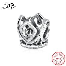 925 Sterling Silver Hollow King Crown Charms Bead Round Fit Original Bracelet DIY Jewelry Accessories P038