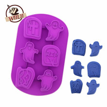 1PCS Silicone Ghost Tombstone Shape Fondant Mold For Chocolate Jelly Pudding Candy Soap Mould Halloween Cake Decorating Tools