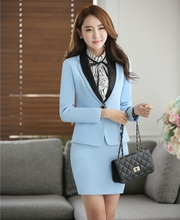 Spring Autumn Formal Women Skirt Suits Womens Business Suits Sky Blue Blazer and Jacket Sets Ladies Office Uniform Style OL