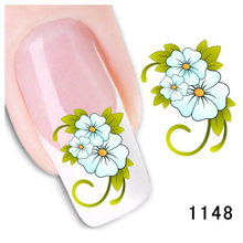 Bittb 2pcs Blue Flower Water Transfer Nail Art Stickers Nail Decoration Tools Manicure DIY Nail Stickers Fingernail Accessories