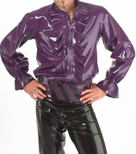 Fashion 2016 Sexy Latex men shirt purple rubber tops for man ruffle decorative plus size hot sale
