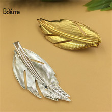 BoYuTe 20Pcs 60*25MM Tree Leaves Hairpin Metal Iron Diy Women Hair Ornaments Jewelry Findings Components(China)