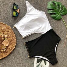 Buy 2018 One Piece Swimsuit Women Zipper One Shoulder Swimwear Female High Cut One-Piece suit Sexy Bathing suit Monokini Swim wear