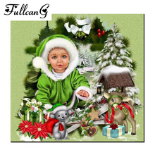 FULLCANG Christmas baby mosaic painting diy diamond painting cross stitch people full square diamond embroidery arts E716