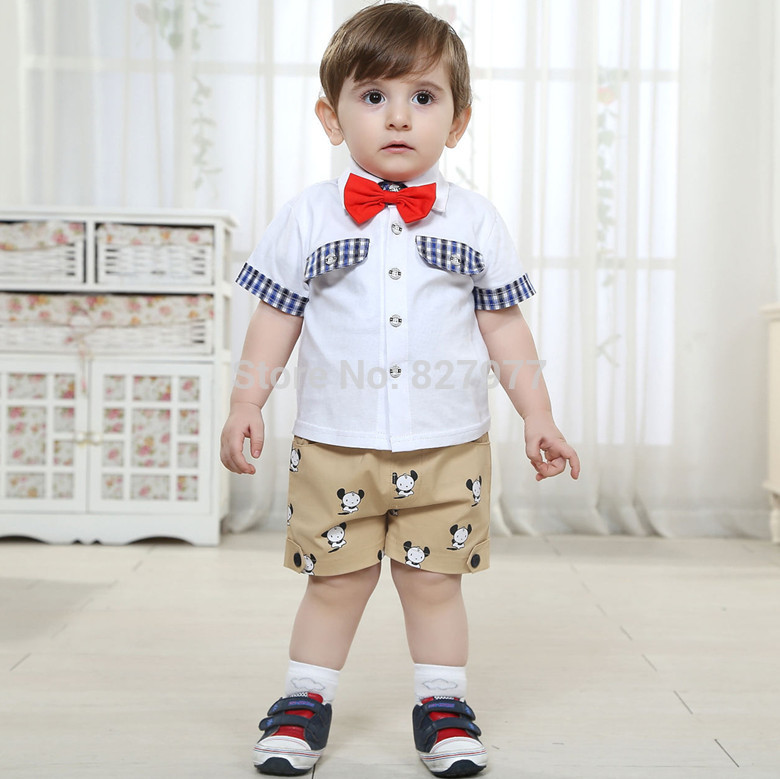 Free Shipping Fashion Design Baby Boy Summer Cotton 100 Clothes Small Child Formal Dress Set 0 1 2 Years Old Clothing In Sets From Mother