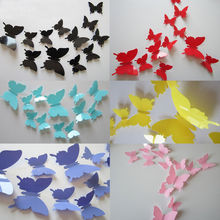 12pcs Hot Wonderful Art Design Decal Wall Sticker Home Decor Black blue red yellow Room Decorations 3D Butterfly wedding decor(China)