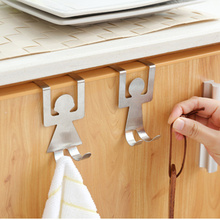 2Pcs/set Stainless Steel Hook House Kitchen Cupboard Hanger Clothes Storage Rack Tool(China)