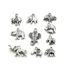 Mixed Tibetan Silver Plated Animals Elephant Charms Pendants Jewelry Making DIY Accessories Charm Handmade Crafts