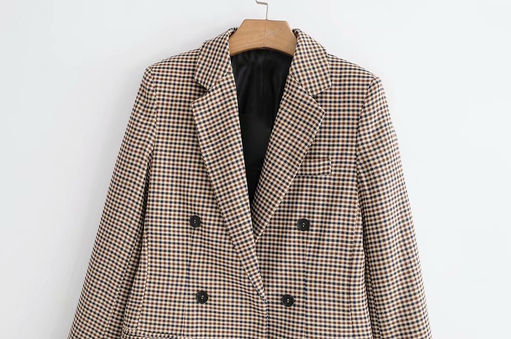 Fashion Autumn Women Plaid Blazers and Jackets Work Office Lady Suit Slim Double Breasted Business Female Blazer Coat Talever 6