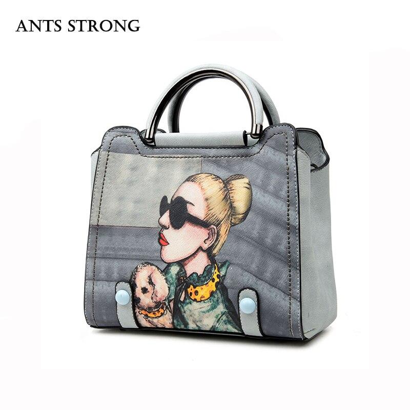 ANTS STRONG modern girl printing handbag/vintage embroidered cross bag PU fabric fashion woman pack <br>