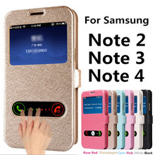 Flip Cover Case for Samsung Galaxy Note 2 Note 3 Note 4 PU Leather Phone Bags with Stand Function Galaxy N7100 N9005 N910C Cases
