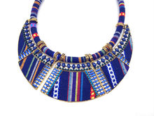 2017 women choker necklace rope chain bohemia boho collar tribal ethnic vintage navy blue big necklace & pendants jewelry bijoux(China)