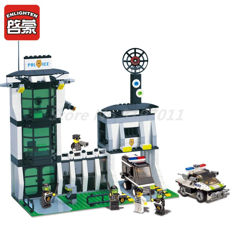 ENLIGHTEN 129 City Police Station Diot Tracking Office Figure Building Blocks Bricks Collection Toys For Children Education Gift<br>