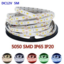 5M RGB Led Strip 5050 SMD Waterproof IP65 IP20 DC 12V 60Leds / M Fita Flexible Ribbon String Led Tape Lamp For Christmas Holiday