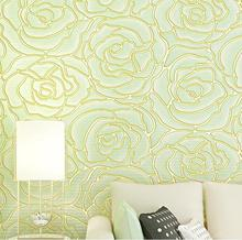 3D Stereoscopic Embossed Design Wallpaper Roll/Fashion Rose Flower pattern Wall Paper/home decor for living room&Sofa background