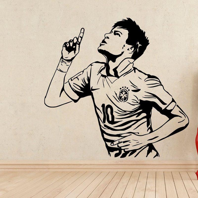 Neymar Football Player Sticker Sports Soccer Decal Helmets Kids Room Name Posters Vinyl Wall Decals Football Sticker