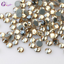 QIAO SS6-SS20 GSHA AB/ Golden Shadow Hot fix Stone Flatback Glass Rhinestone Decorations(China)