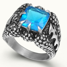 Size 7 8 9 10 11 12 13 14 15 Stainless Steel Dragon Claw Vintage Biker Blue tone Crystal Ring Punk Skull Bone(China)