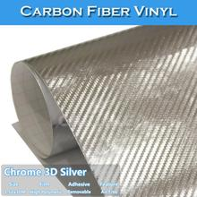 CARLIKE Free Shipping Chrome Silver 3D Carbon Fiber Car Wrapping Film(China)