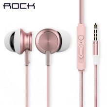 Original ROCK SPACE Y2 Stereo Braided Cable Cell Phone Earphones with Mic Sport Earbuds for all 3.5 mm Audio Smartphones