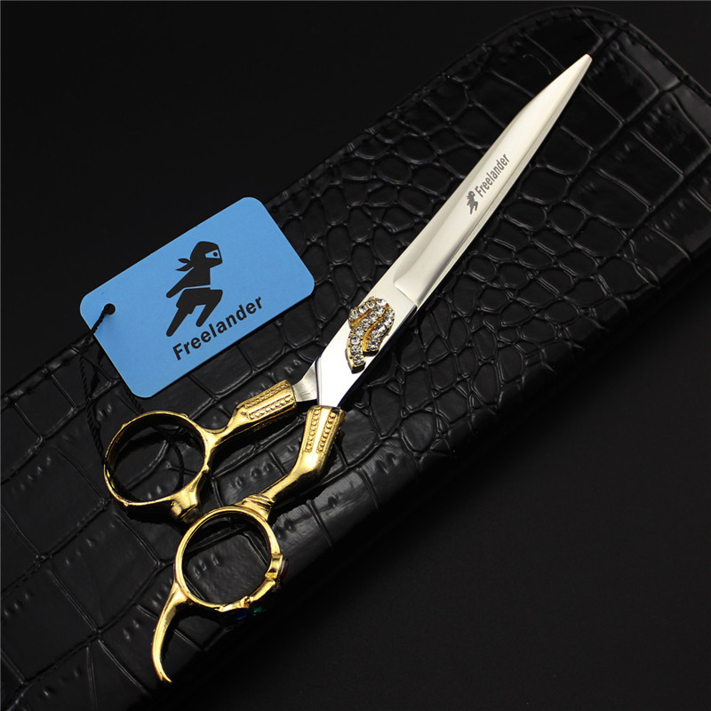 7 inch Professional Pet Scissors for Dog Grooming Gold Rhinestones Dog Shears Tesouras Pet Grooming Hair Clippers Tool with Bag<br>