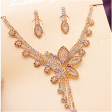 RONGQING 6Sets/lot Rhinestone Butterfly Necklace Earrings Set Shinny Party Jewelry Sets for Women