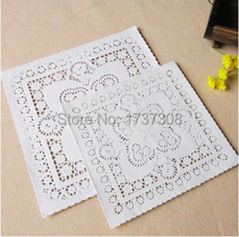 "PD28,8""&10""Mixed Sizes Square Lace Flower Paper Doilies Placemat Crafts for DIY Scrapbooking/Card Making/Wedding Decoration(China)"