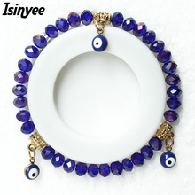 ISINYEE Fashion Turkish Eye Charm Resin Plastic Crystals Elastic Bracelets Femme For Women Girls Lucky Jewelry Pulseras Mujer