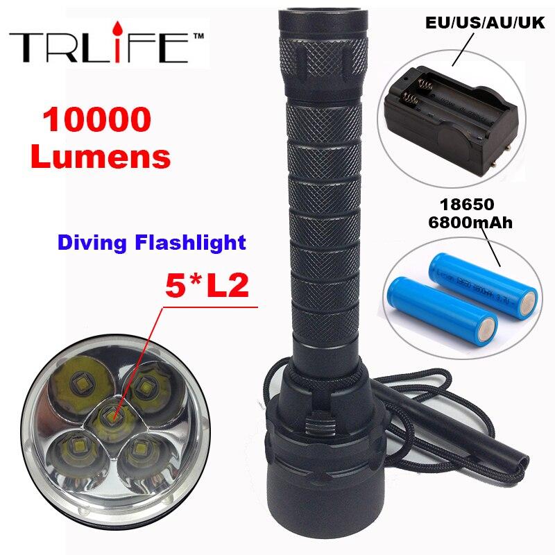 10000 Lumens Diving Flashlight Torch 5 x L2 Diving LED Flashlight  200M Underwater Waterproof Tactical Flash light Lantern Light<br>