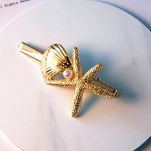 Timlee H105 Free shipping Beautiful Seastar Shell Conch Starfish Metal Barrettes Hair Pins Clip Hair accessory wholesale