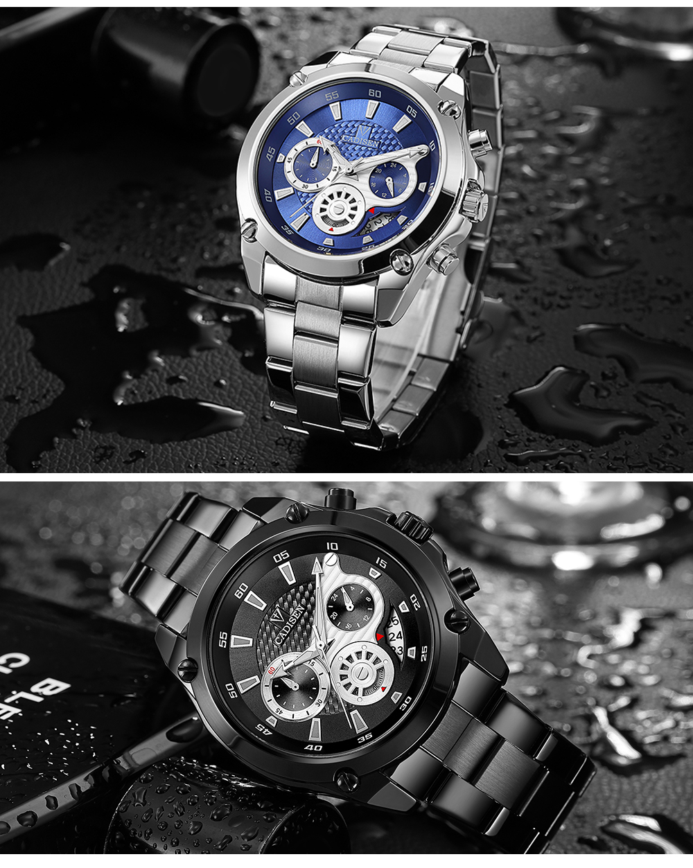 Top Brand Luxury CADISEN Mens Watch Full Steel Sport Watches Fashion Quartz Military Wrist Watch Relogio Masculino Waterproof 10