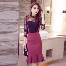 2016 Fashion Women Ball Gown Skirts Striped with Shoulder Straps Bedding Bag Hip Wine Red Black Flounced Knee-length Skirts(China)