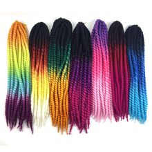 Ombre Rainbow Four Tone 22'' 12strands 120g/pc Synthetic Braiding Hair Jumbo Havana Mambo Twist Crochet Braids Hairstyles