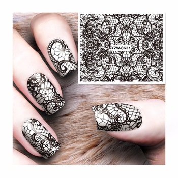 ZKO Lace Designs 1 Sheet Water Transfer Sticker Nail Art Decals Nails Wraps Temporary Tattoos Watermark Nail Tools 8631