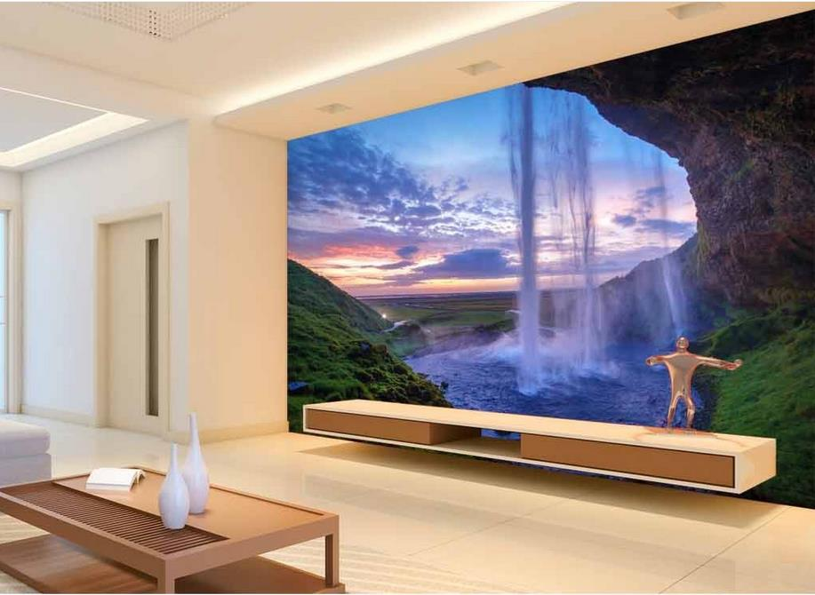 Custom 3d stereoscopic wallpaper Landscape Waterfall 3d mural wallpaper roll photo wall mural kitchen 3d wallpaper walls<br><br>Aliexpress