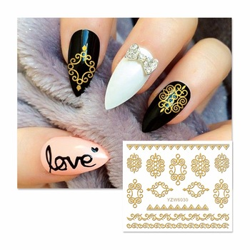 YZWLE 1 Sheet Gold 3D Photo Frame Design Nail Art Stickers Decals For Nail Tips Decoration DIY Fashion Nail Art Accessories 6030